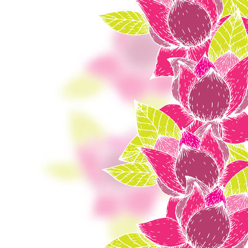 Pink flowers and yellow leaves vector background 02