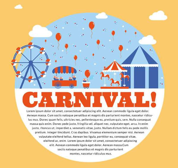 Playful carnival poster vector pictures