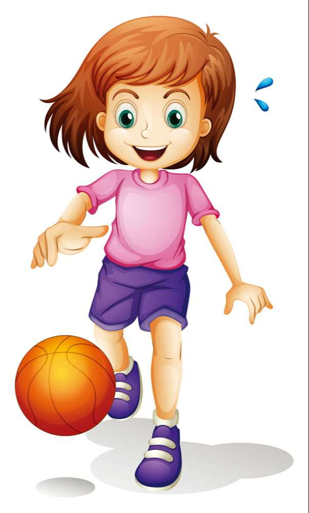 Playing basketball cartoon girl vector