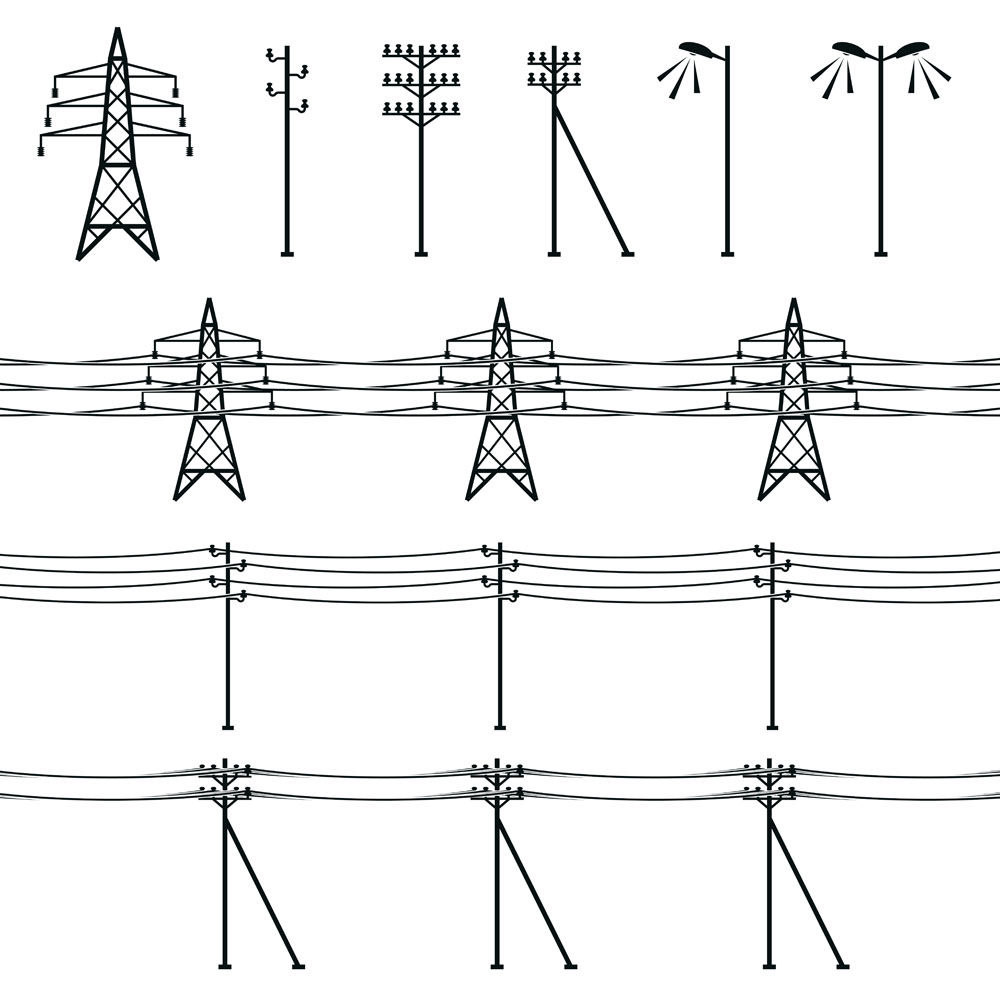 Poles and transmission towers vector