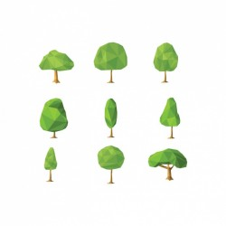 Polygonal trees collection Vector | Free Download