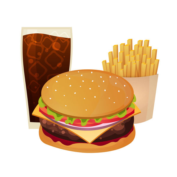 Poster fast food vector material 06