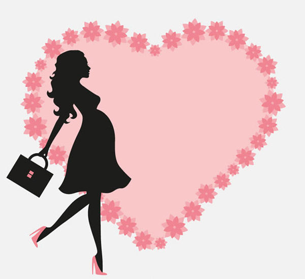 Pregnant women and love vector pictures