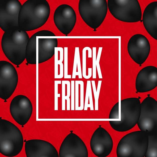 Red background with black balloons for black friday