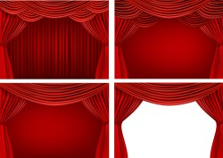 Red silk curtains design vector set 03