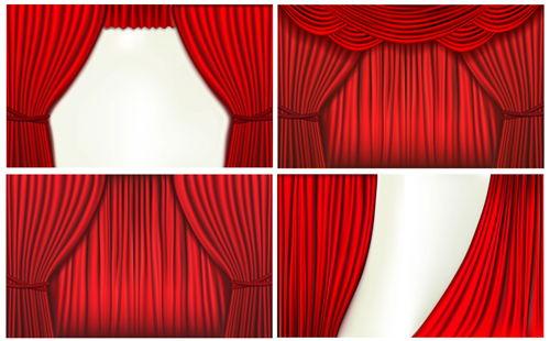 Red silk curtains design vector set 05