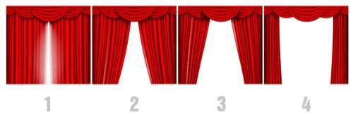 Red silk curtains design vector set 06