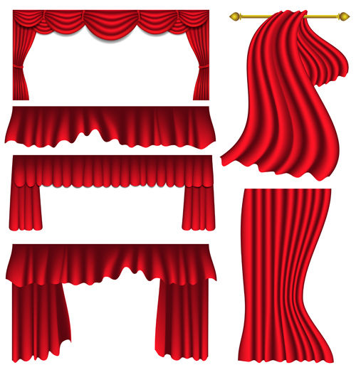 Red silk curtains design vector set 07