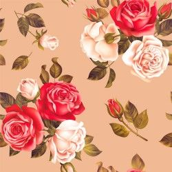 Red with white rose seamless pattern