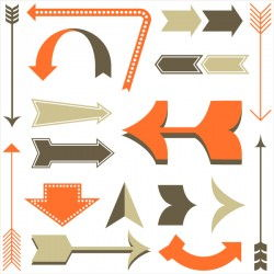 Retro arrows vector set