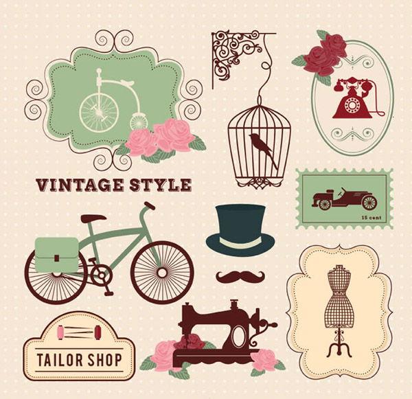 Retro decorative elements vector pictures
