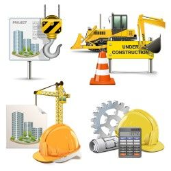 Roadblocks and engineering equipment vector