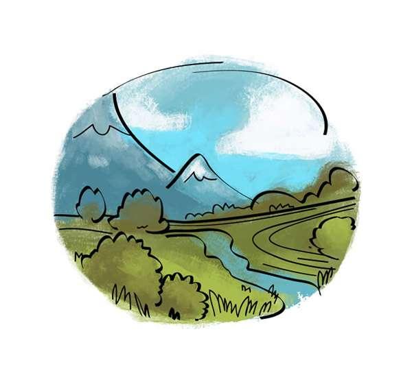 Round watercolor landscape