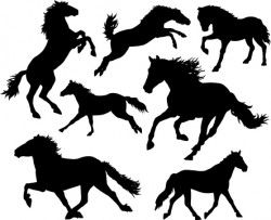 Running horse vector silhouettes 01