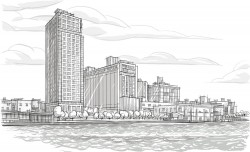 Seaside office building vector