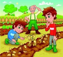 See plant farmer cartoon vector