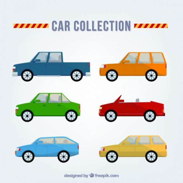 Selection of different car models in flat design