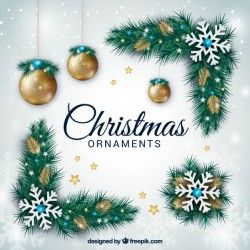 Selection of realistic and golden christmas ornaments