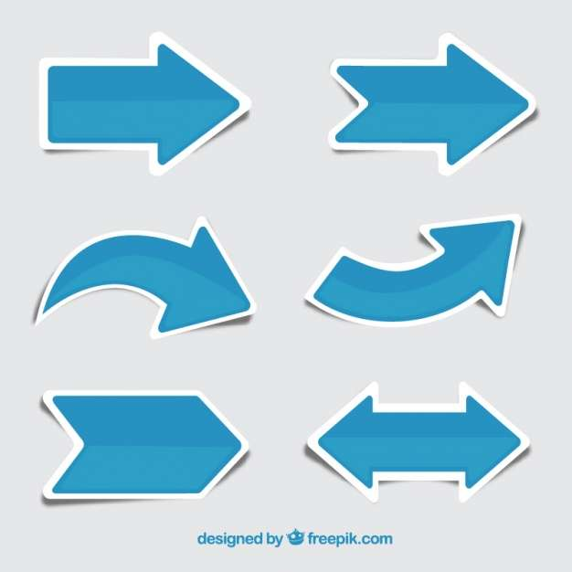 Set of blue arrow stickers