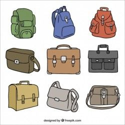 Set of briefcases and backpacks