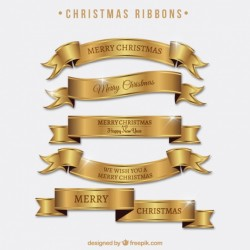 Set of bright golden ribbons of merry christmas Vector | Free Download