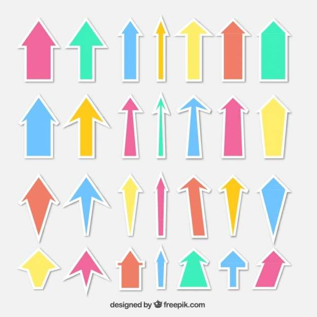 Set of colored arrow stickers