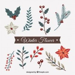 Set of decorative winter flowers