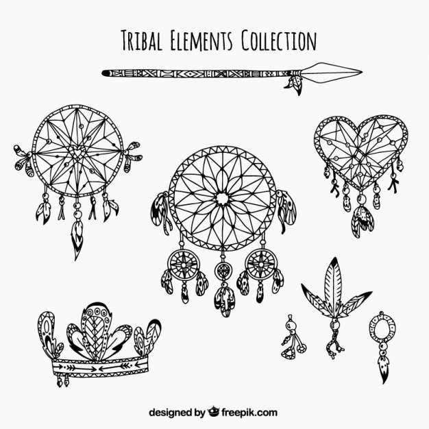 Set of ethnic elements and dreamcatchers