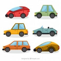 Set of geometric automobiles