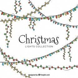 Set of hand-drawn christmas lights