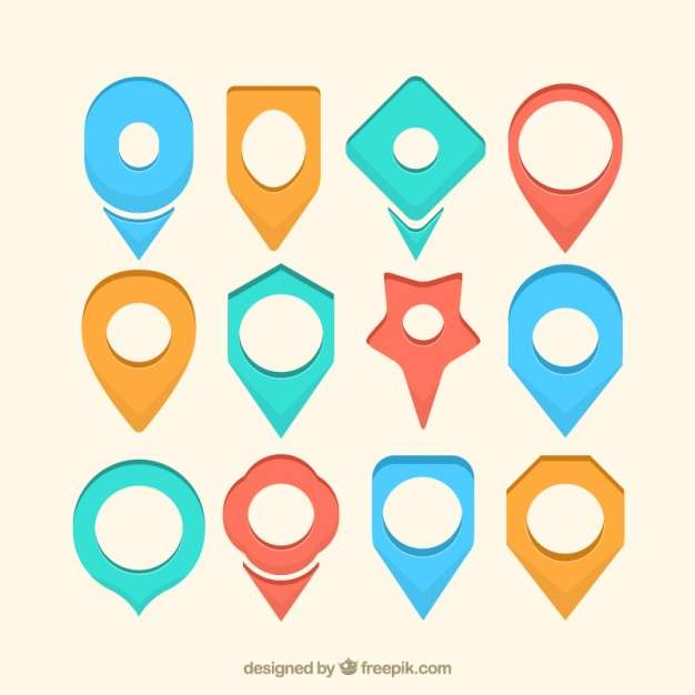 Set of locators with different shapes