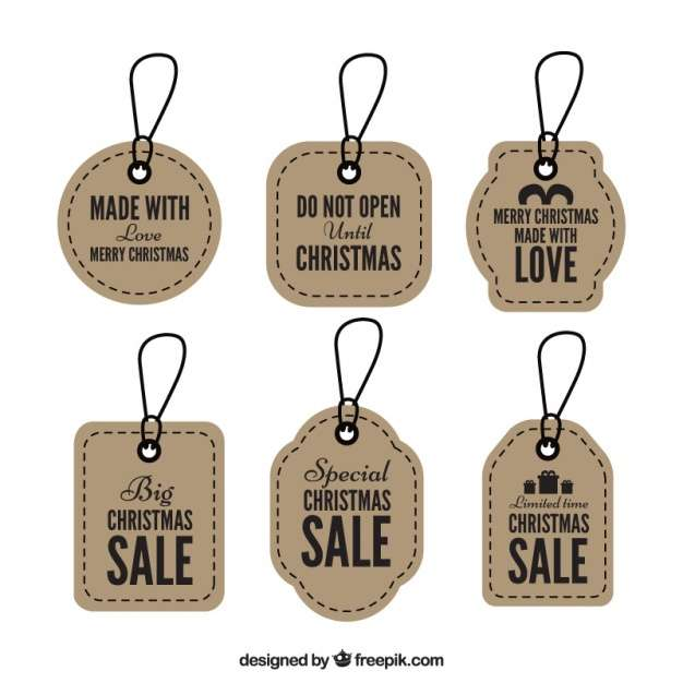 Set of retro christmas tags sales