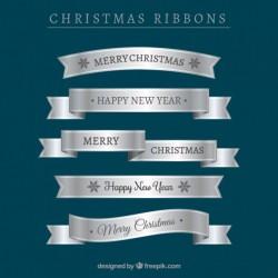 Set of silver christmas ribbons Vector | Free Download