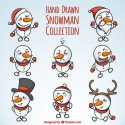 Set of snowmen beautiful hand-drawn christmas elements Vector | Free Download