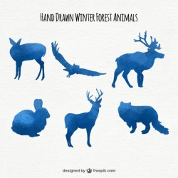 Set of watercolor animal blue color silhouettes