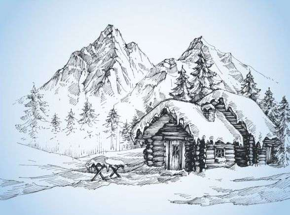 Snow mountains winter Landscape hand drawn vector 03