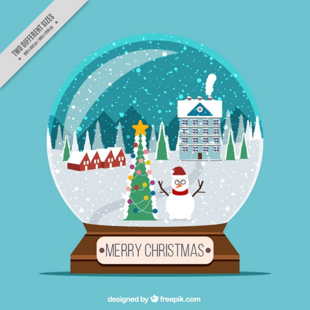 Snowglobe background with snowy landscape Vector | Free Download