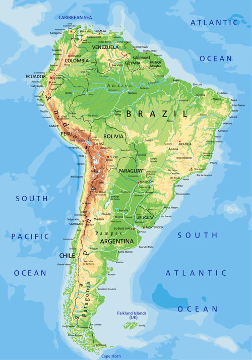 South America physical map vector graphics