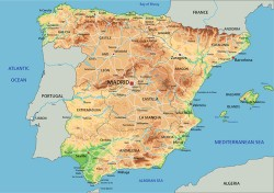 Spain physical map vector graphics