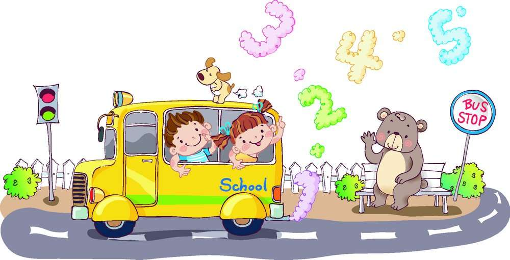 Take the school bus cartoon children vector