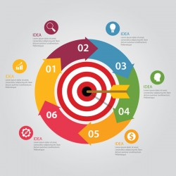 Target hit Infographics vector template 03