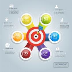 Target hit Infographics vector template 05