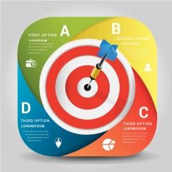 Target hit Infographics vector template 06