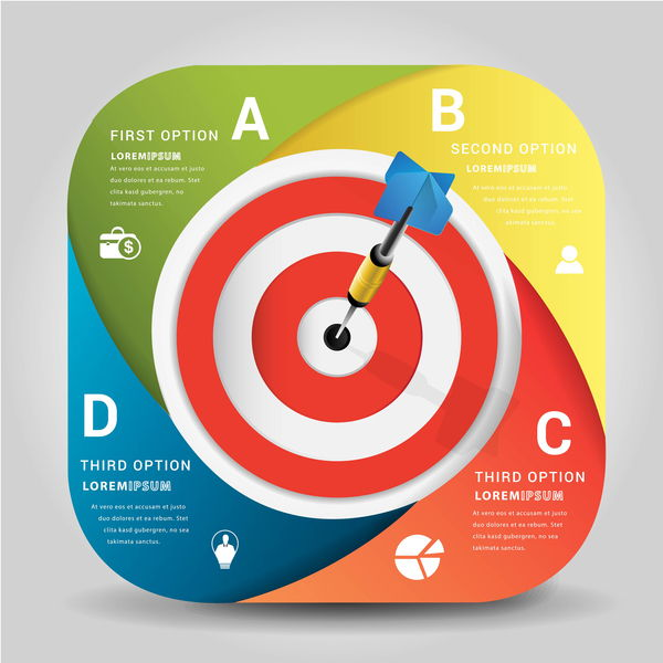 Target hit Infographics vector template 06