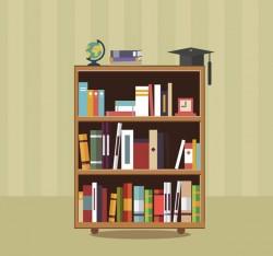 Three Bookshelf vector