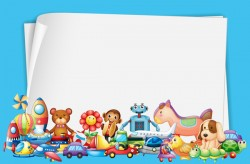 Toys with paper background vectors 07