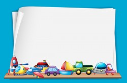 Toys with paper background vectors 04