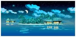 Tropical island night landscape