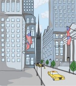 US city streets illustration vector