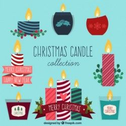 Variety of christmas candles in flat design